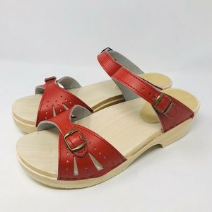 Sven Original Red Two Buckle Clogs Sandals 43